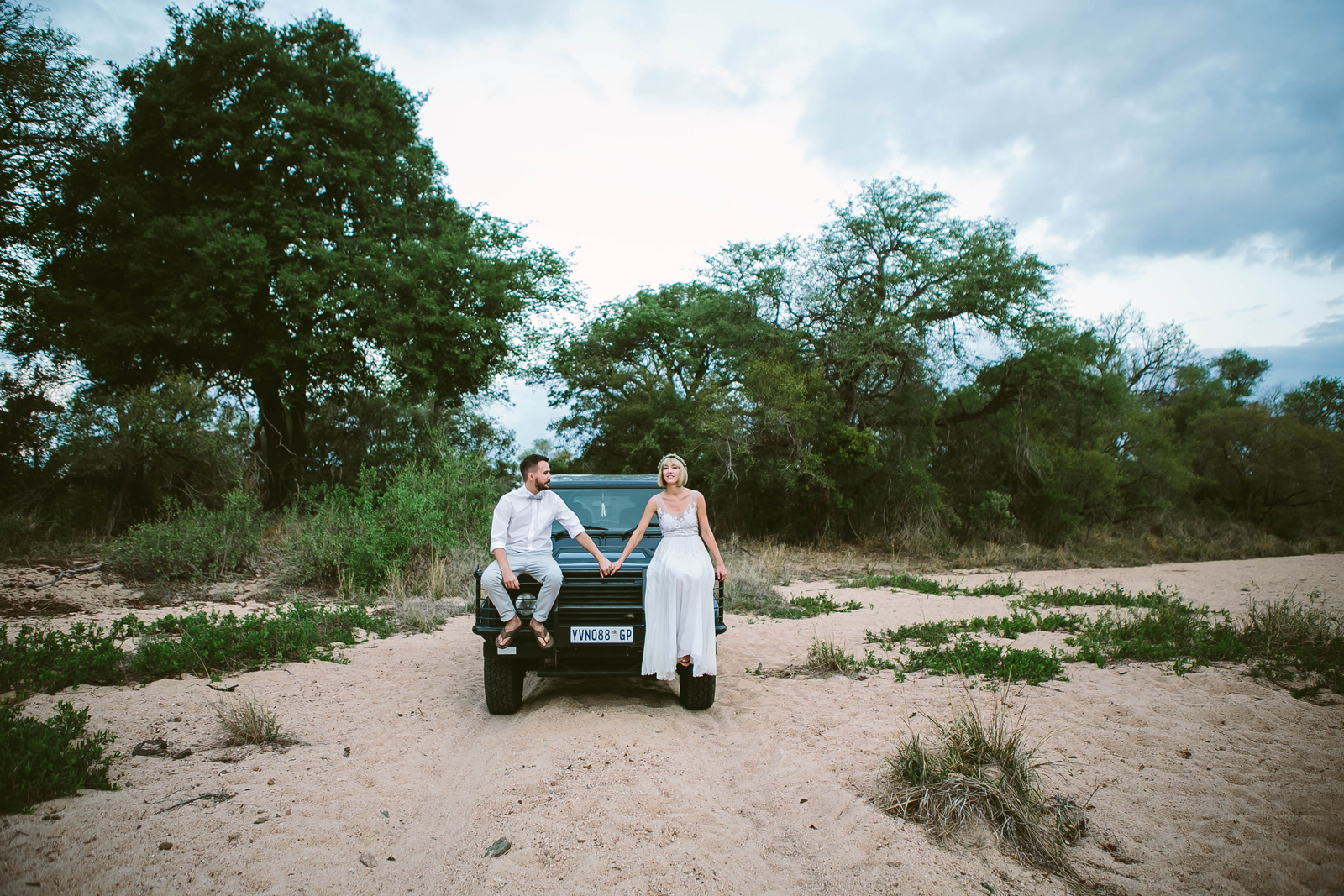 "Jeff and Kerryn on their big day with Andy the Landy ©<a href=""http://www.knotjustpics.com"" target=""_blank"">Knot Just Pics</a>"