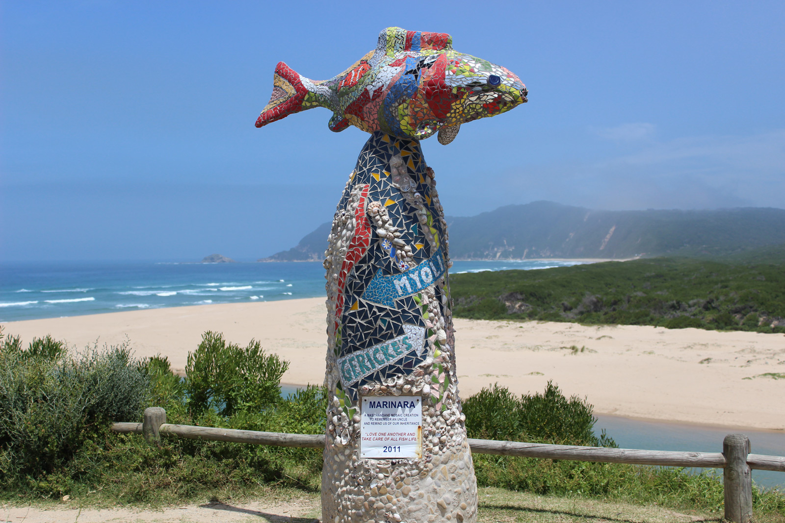 """A statue in Sedgefield with the message to """"love one another and take care of all fish life"""" ©David Winch"""