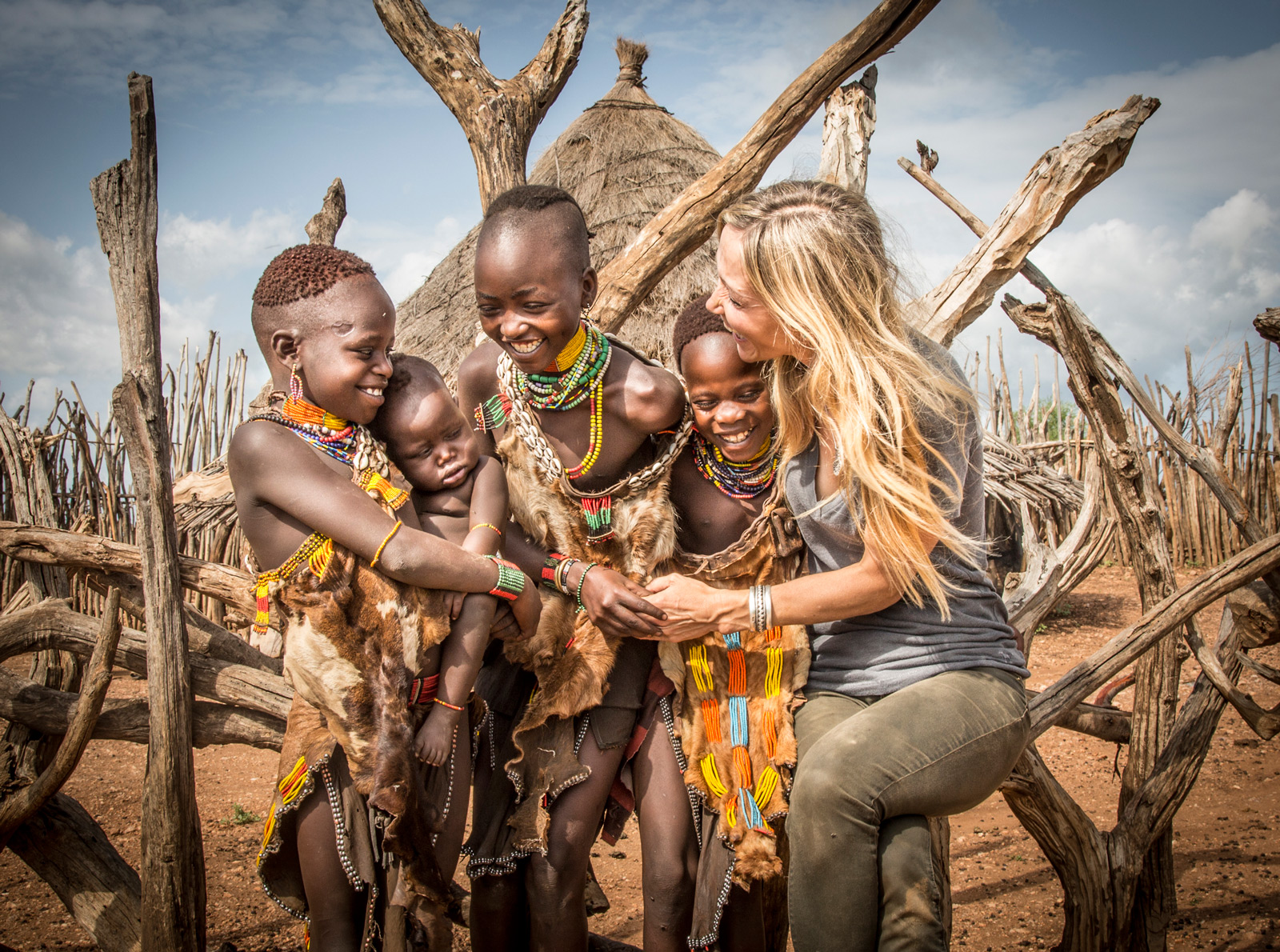 Louisa in a Hamer village in the lower Omo Valley