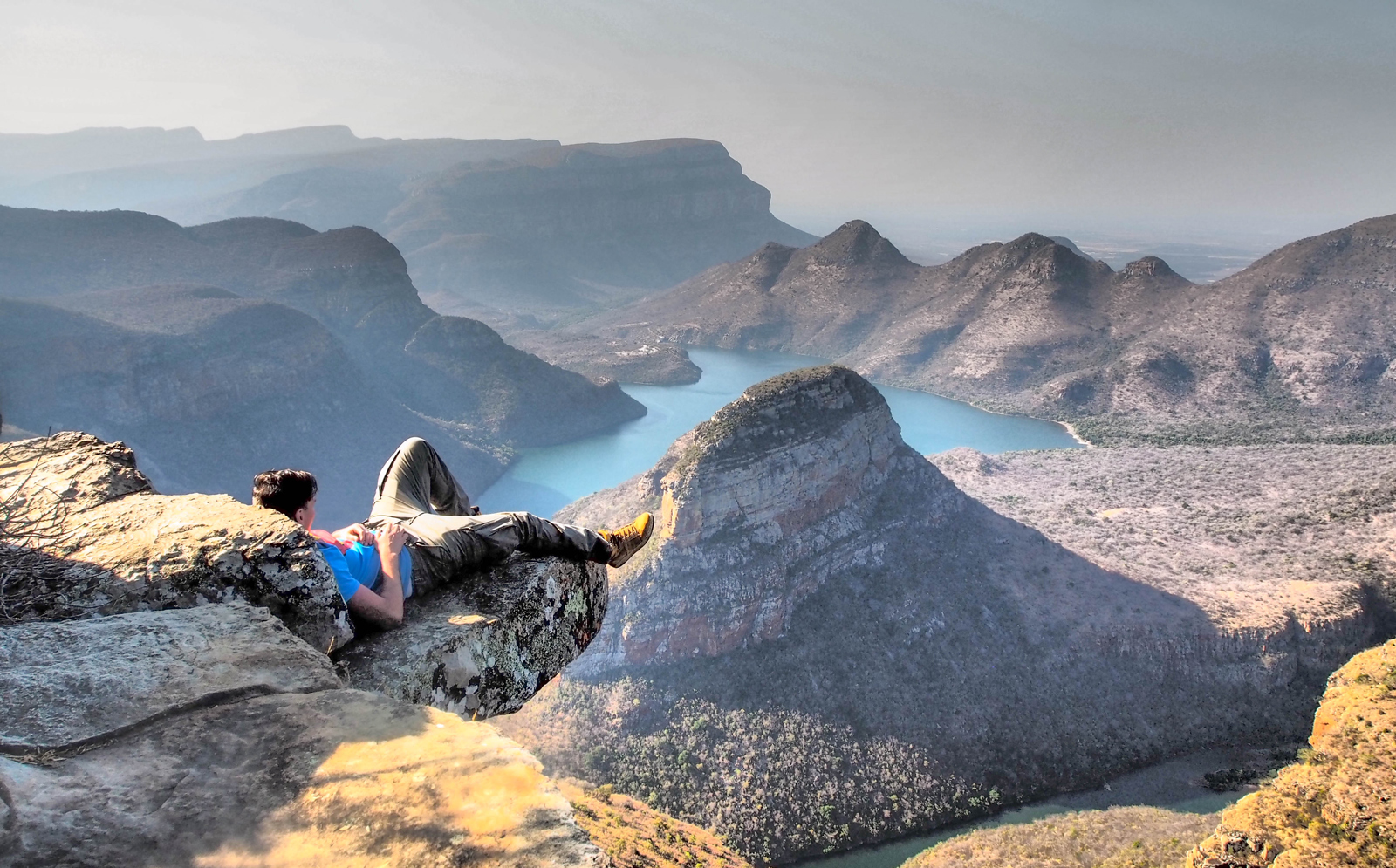 Kicking back above Blyde River Canyon, South Africa ©David Dinu