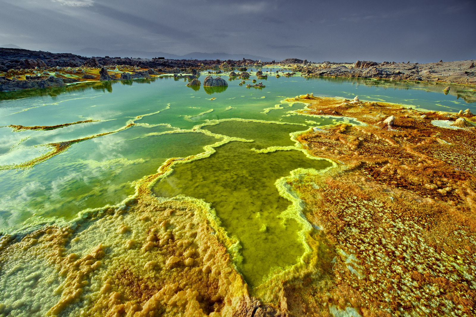 The surreal landscape of the sulphur pools at Dallol in the Danakil depression, Ethiopia. ©Trevor Cole