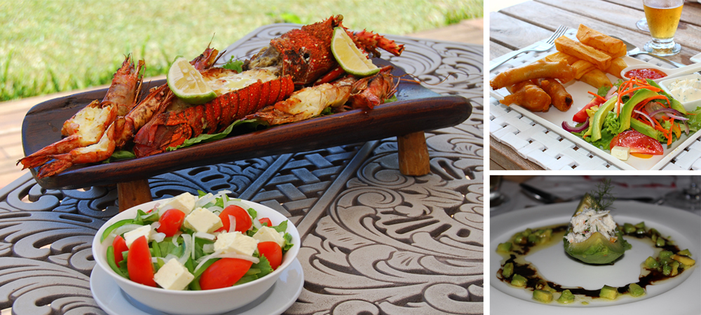 Simply sublime seafood (left) ©Bahia Mar;The ultimate fish and chips (top right) and a crab and avocado salad at Villa Santorini (bottom right) ©Kelly Winkler