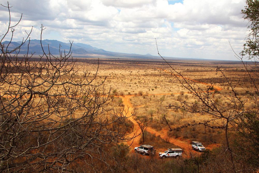 vehicles driving in Tsavo in Kenya