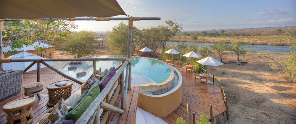 View of Selous landscape from luxurious accommodation