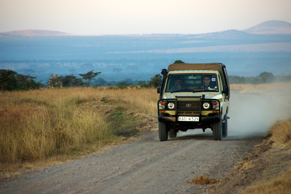 A vehicle busy tracking lions in Ol Pejeta conservancy