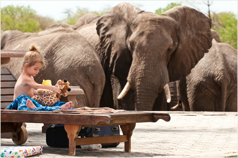 Elephant and child. Water for Elephants Trust, Botswana