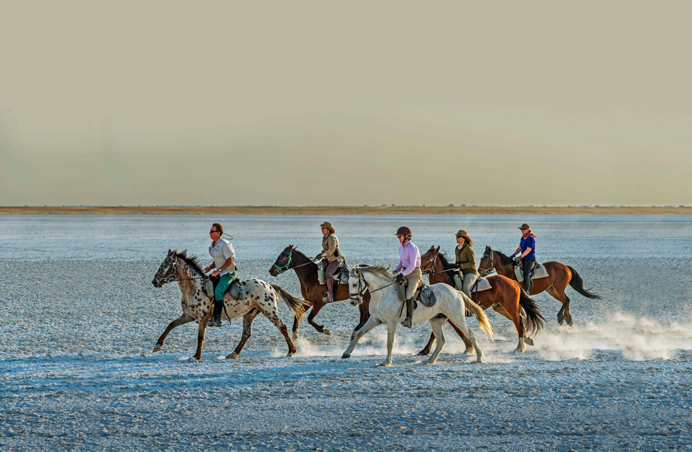Riding across the magnificent salt pans