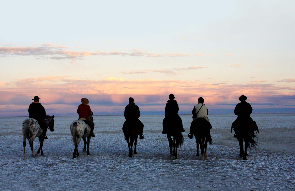 Riding across the Makgadikgadi Pans