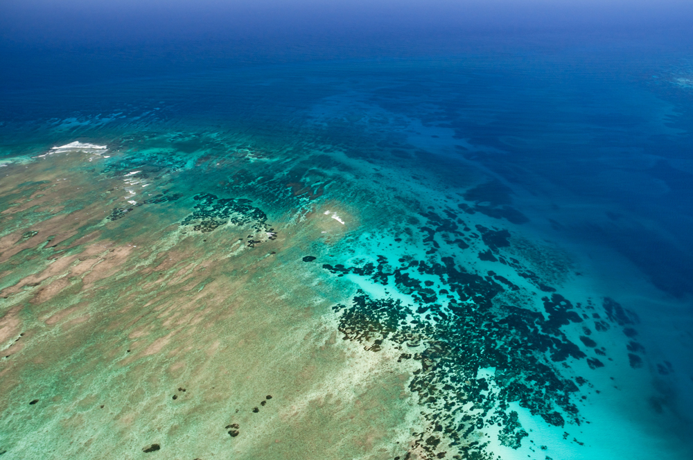 An aerial view of the azure blue water of the Indian Ocean