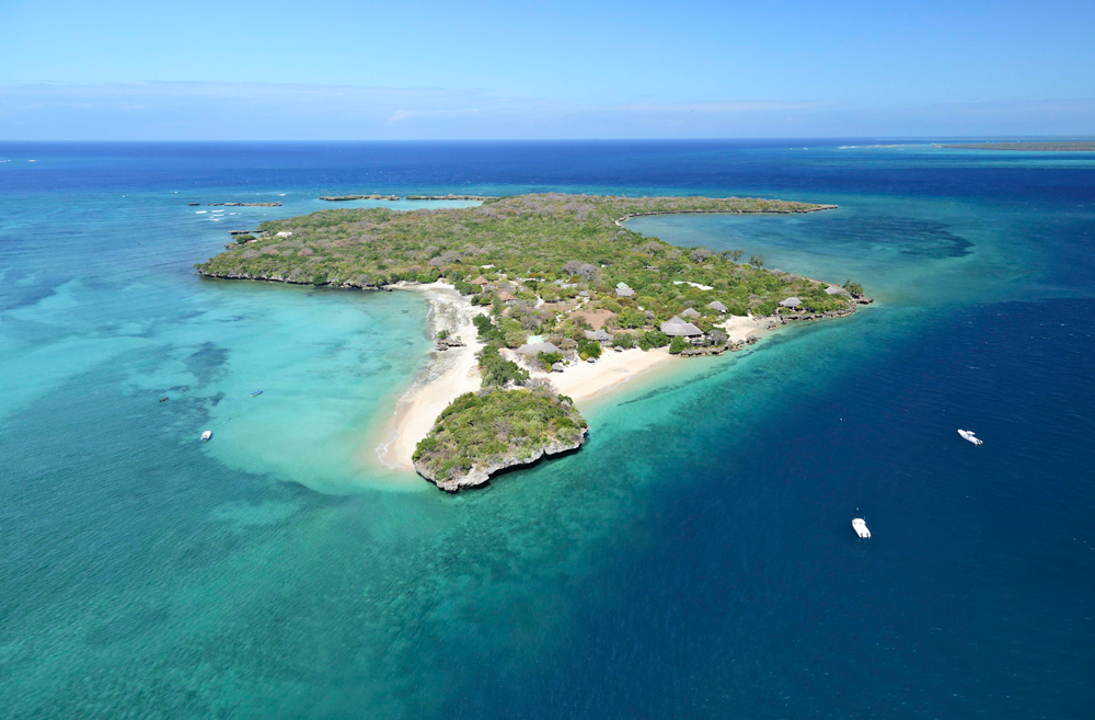 An aerial view of Quilalea island in Mozambique