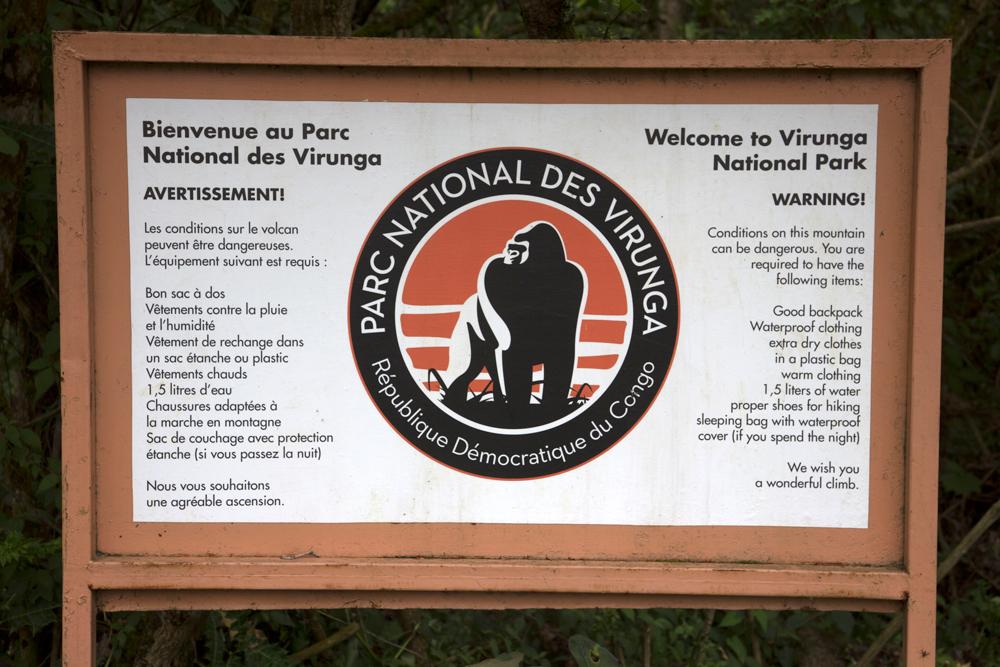 Virunga National Park entry sign