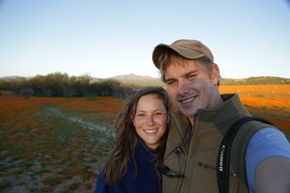 James and Sam at the start of their travels amidst the flowers in Namaqualand