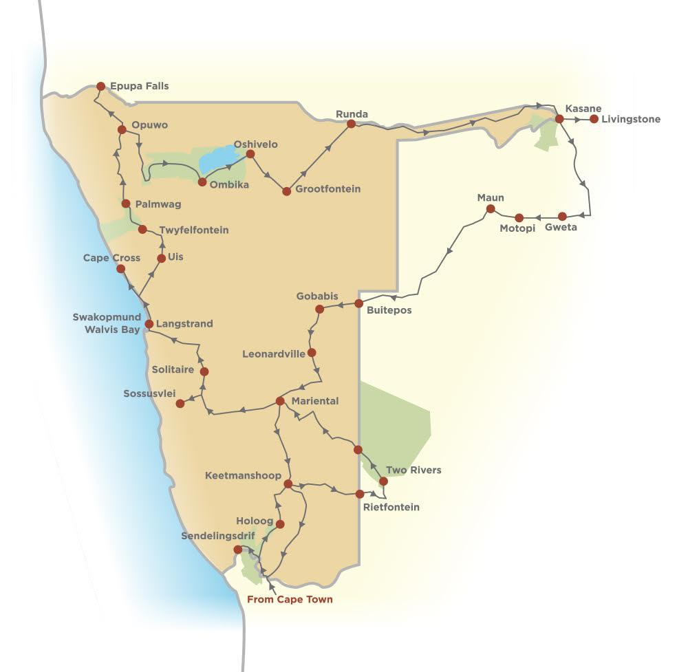 Sam and James' journey across Namibia