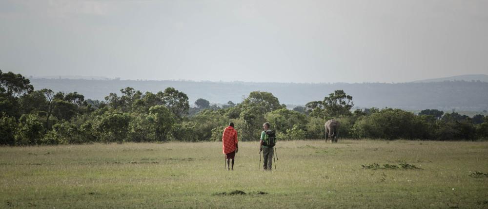 Stuart and Joseph come across a lone elephant bull ©Stuart Price, Make It Kenya