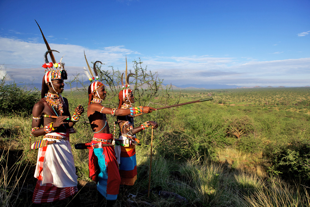 Three Samburu warriors