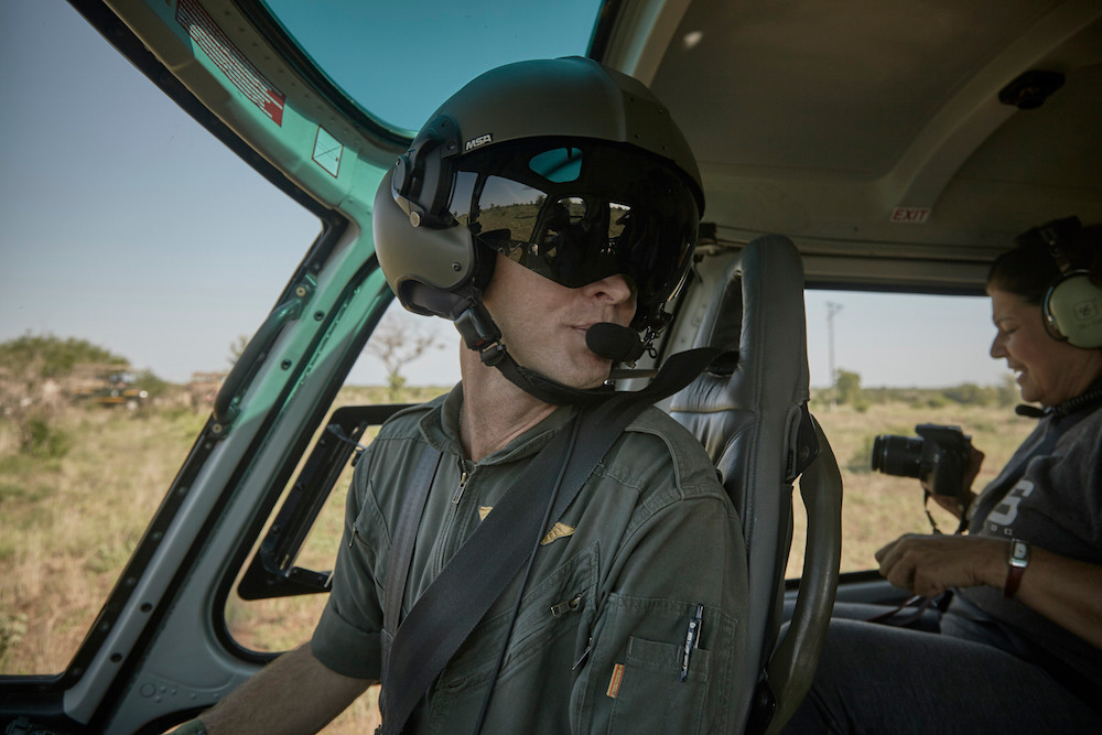 close up of pilot getting ready for anti-poaching patrol