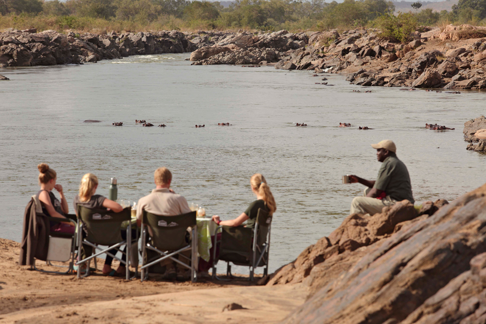 Guests relaxing while watching hippos