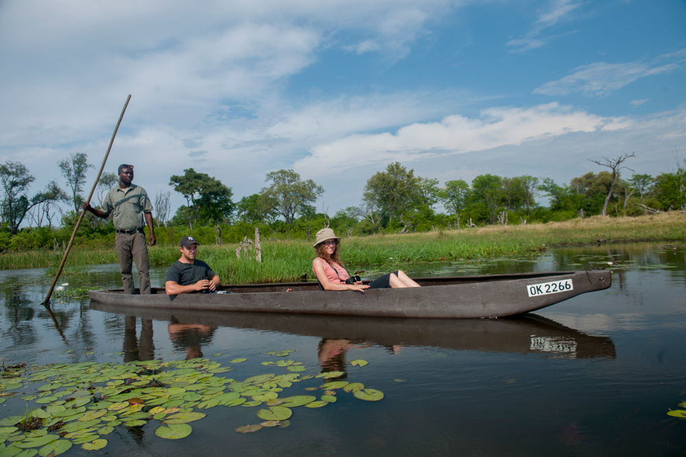 A mokoro safari on the waters of the Okavango Delta