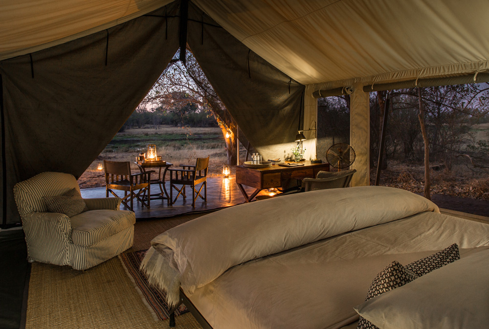 Luxury tented suite room view at Machaba Camp