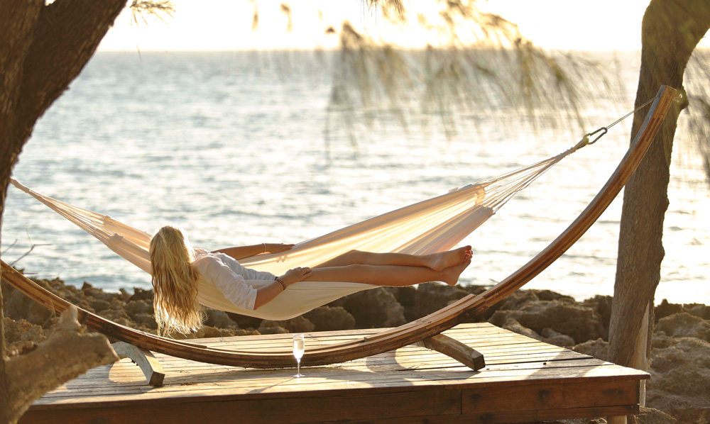 Relaxing on a hammock on the private island