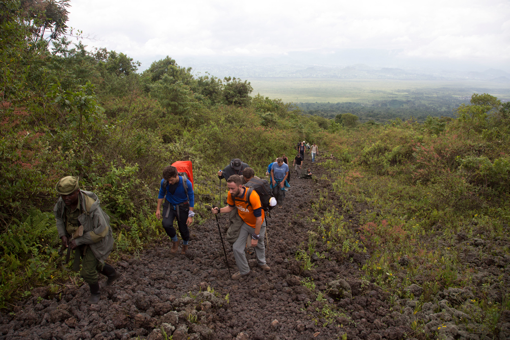 Group hiking towards the volcano