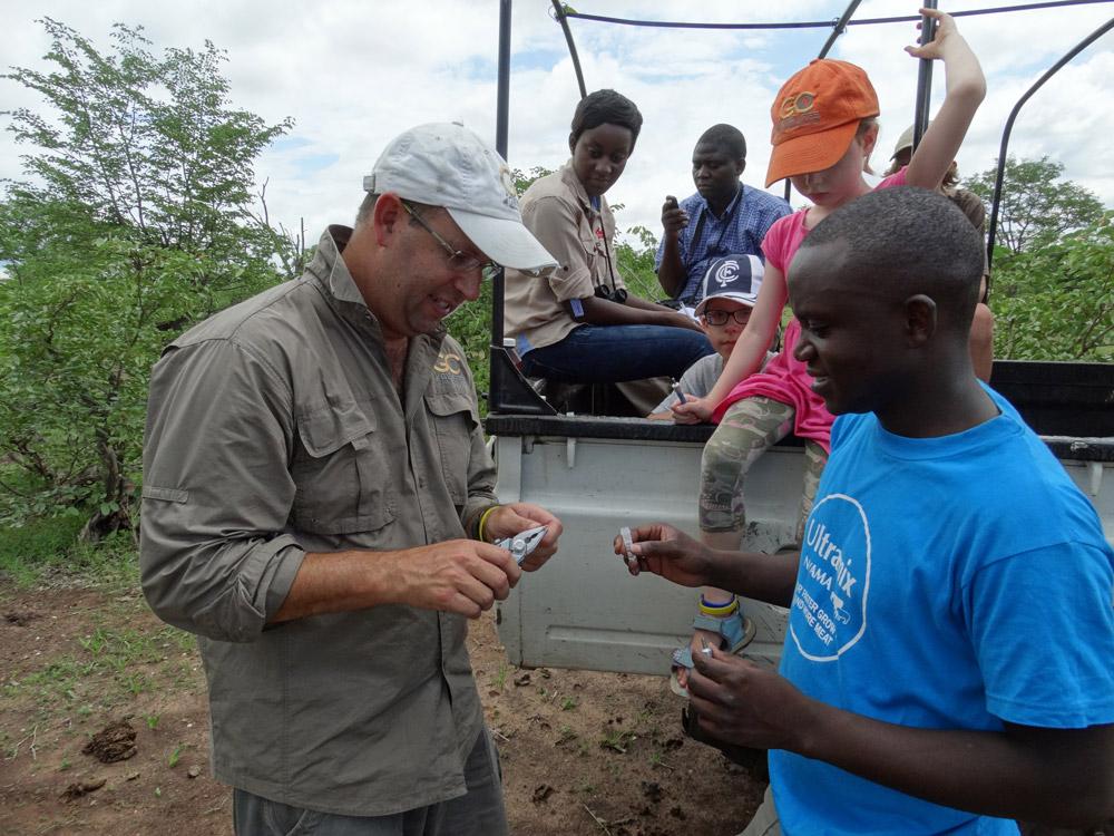 Researchers doing giraffe DNA sampling in Zambia