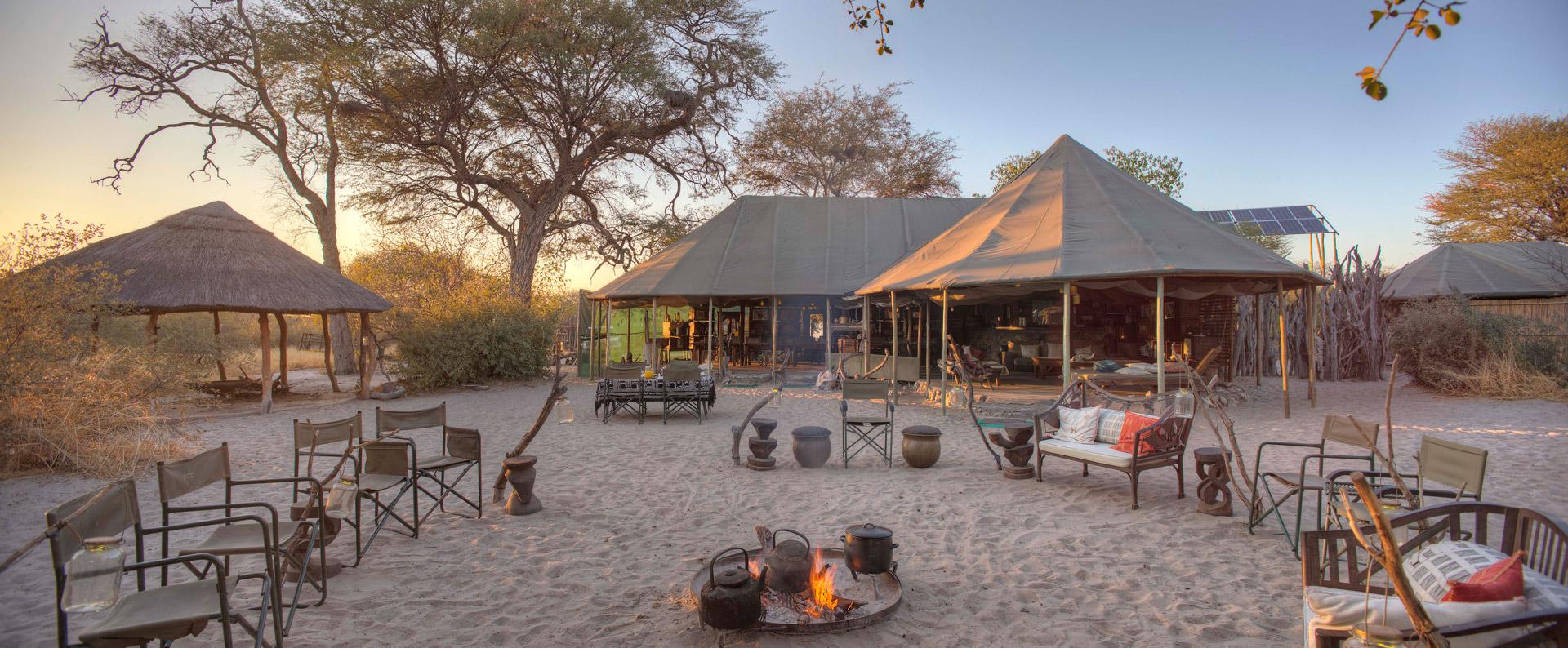 Communal area at Meno a Kwena lodge in Botswana