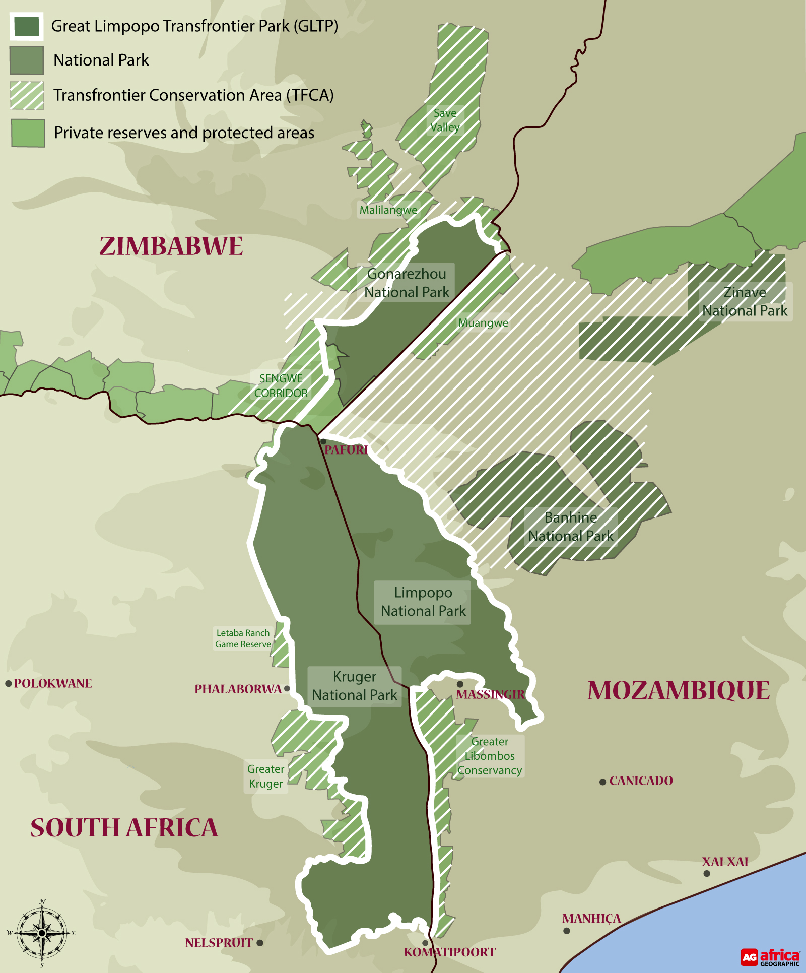 Map of Great Limpopo Transfrontier Park