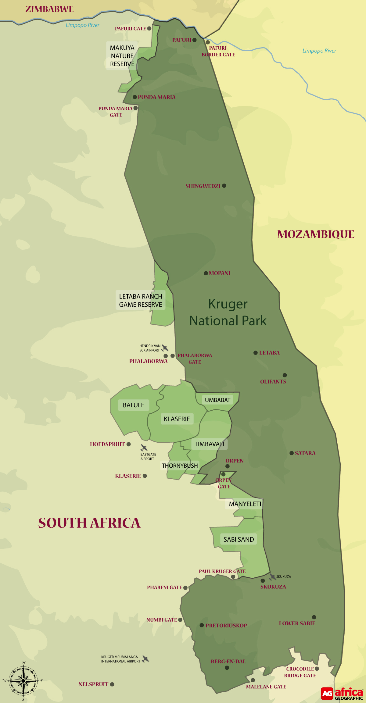 Map of Kruger National Park and Greater Kruger © Africa Geographic