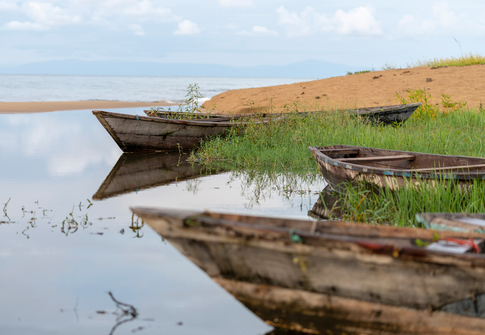 Boats along the shore of Lake Malawi
