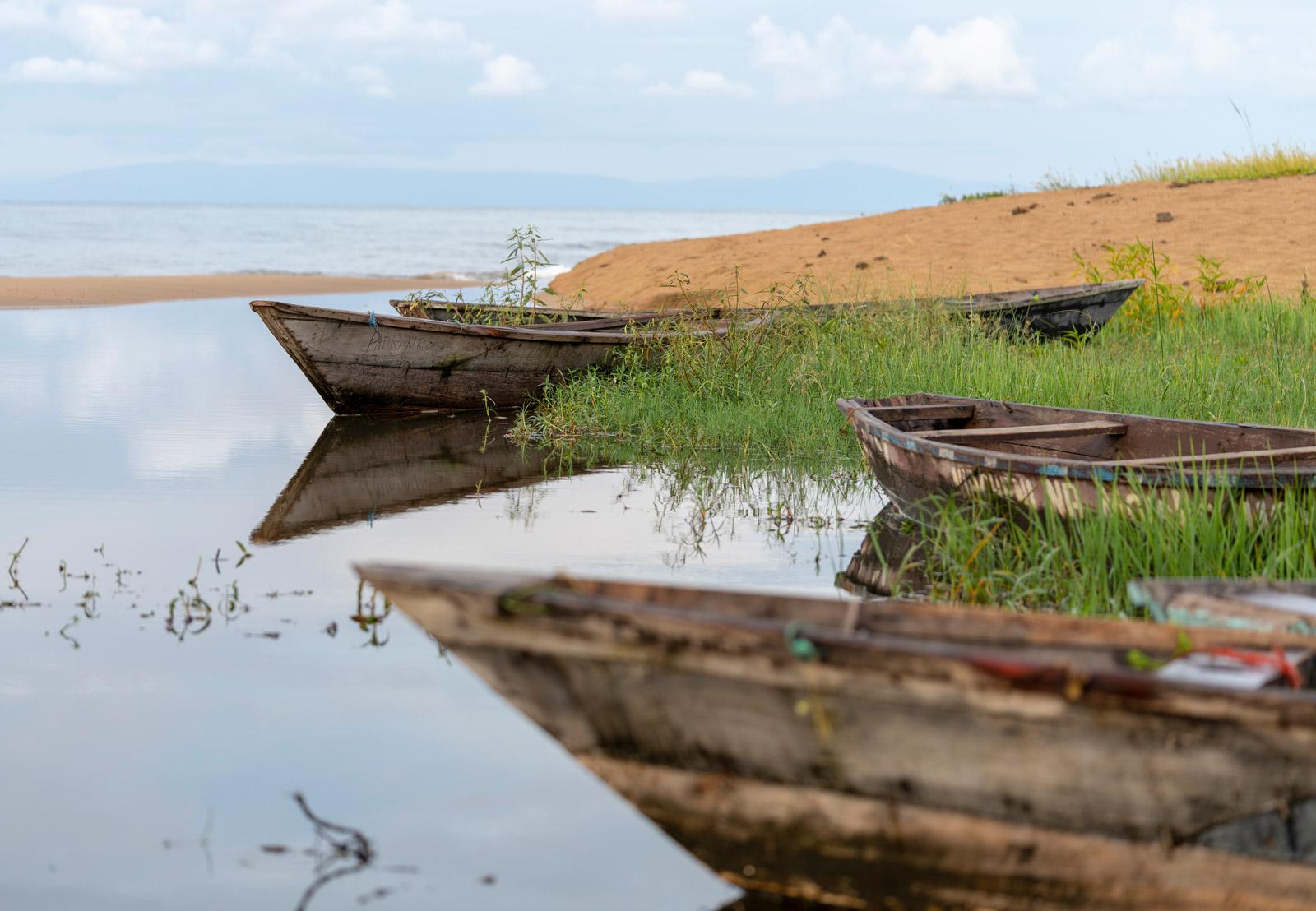 Boats along the shore of Lake Malawi