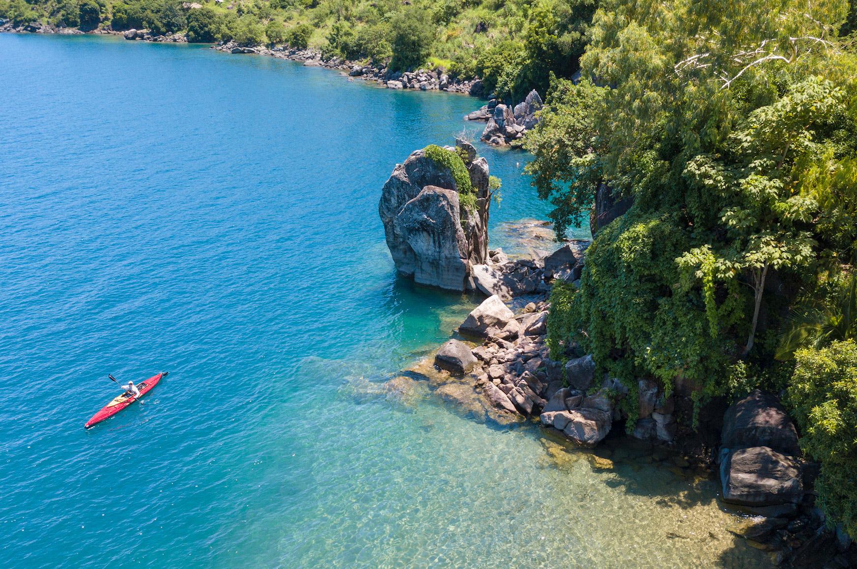Kayak off Lake Malawi's shore