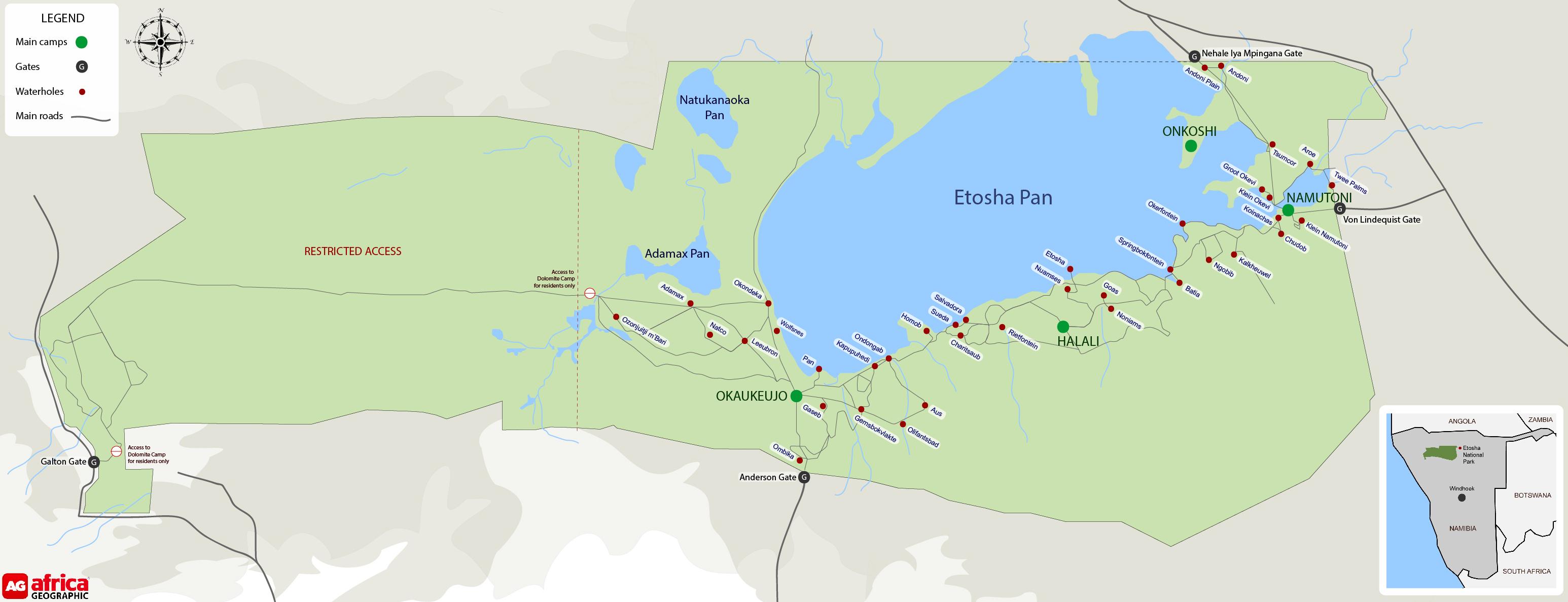 Map of Etosha in Namibia