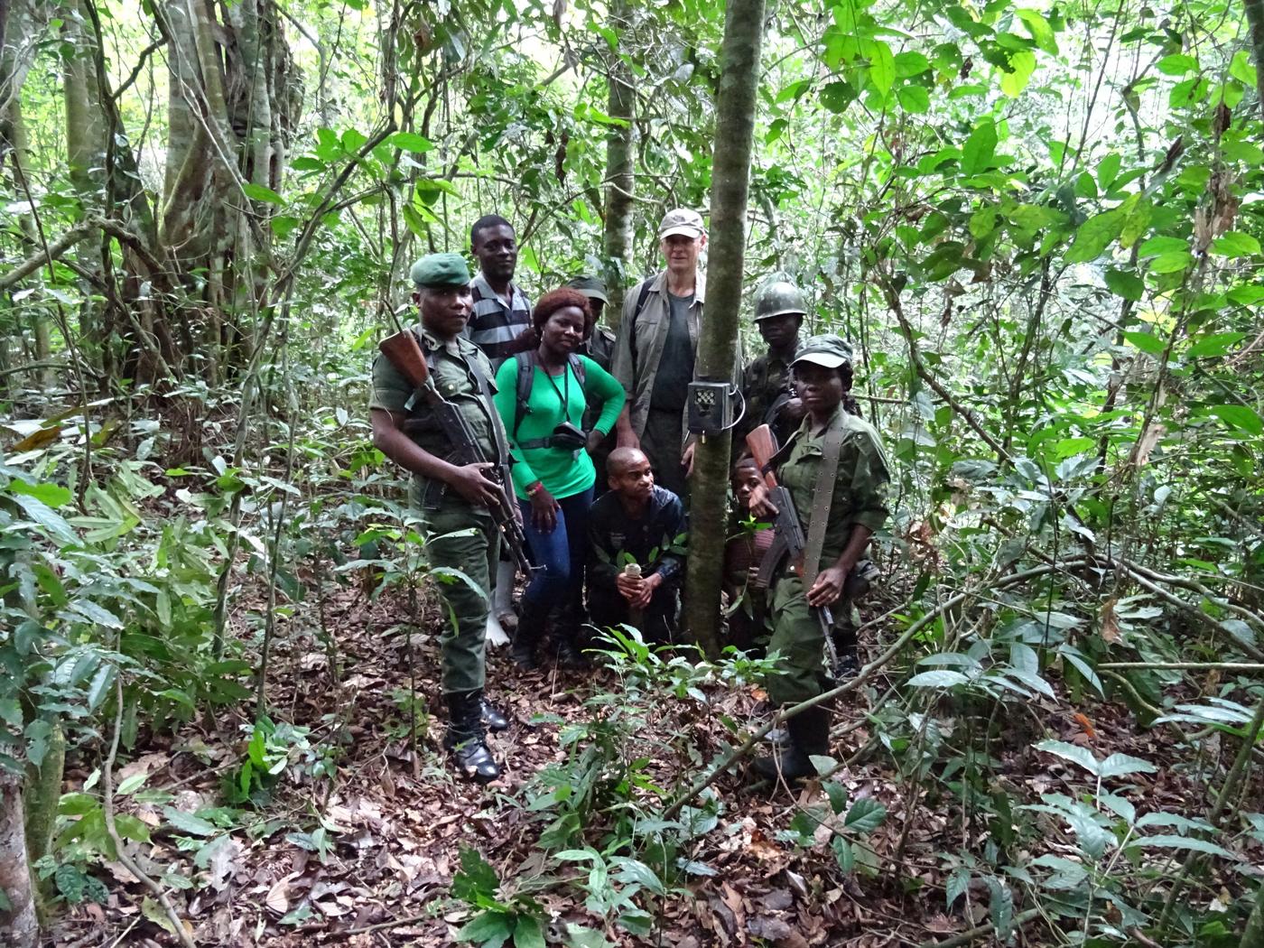 'Team Okapi' set up the initial phase of the camera trap study © Okapi Conservation Project