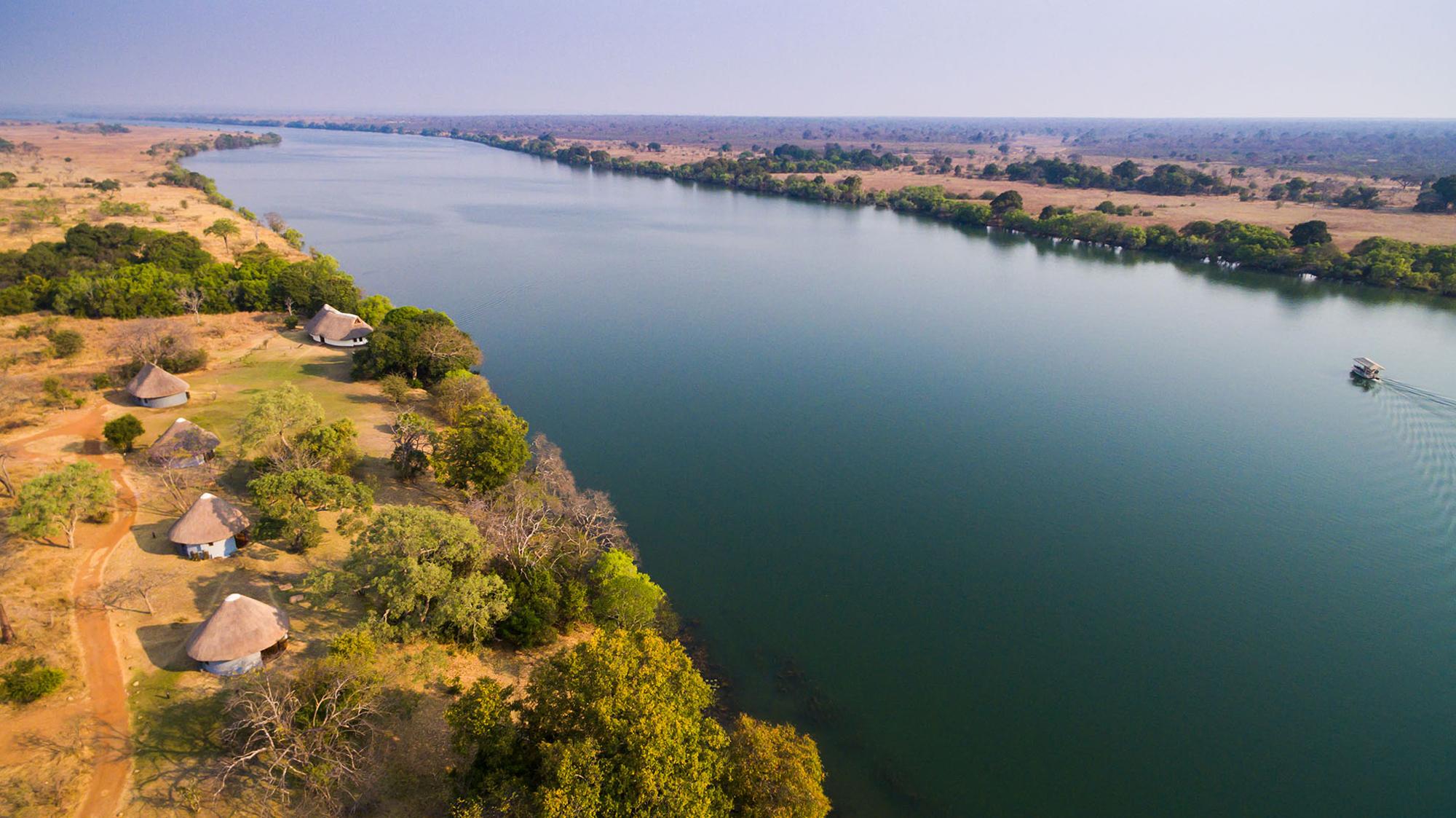 Aerial view of Mukambi Safari Lodge and the Kafue River