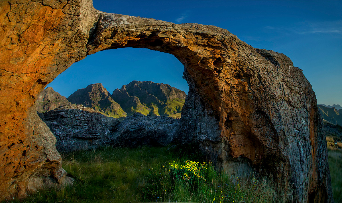 One of the many rock arches in Sehlabathebe National Park, Lesotho © Hesté de Beer