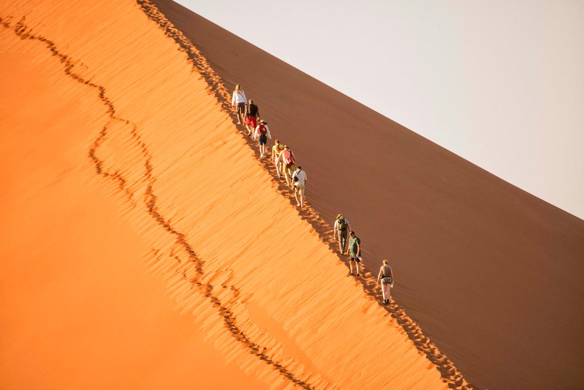 """""""Climbing Dune 45"""" in Sossusvlei, Namib-Naukluft National Park, Namibia © Dale G. Davis"""