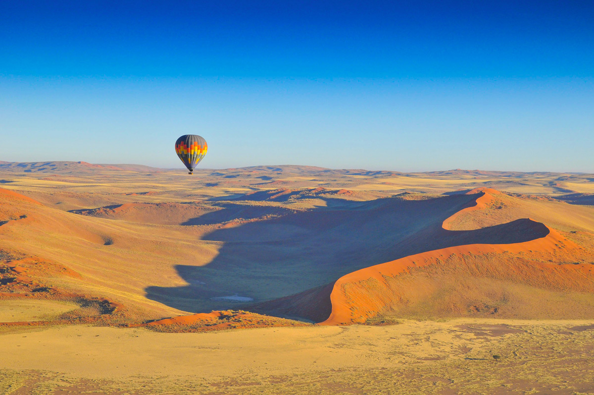 Hot air balloon over the Namib Desert, Namibia © Georgie Smith