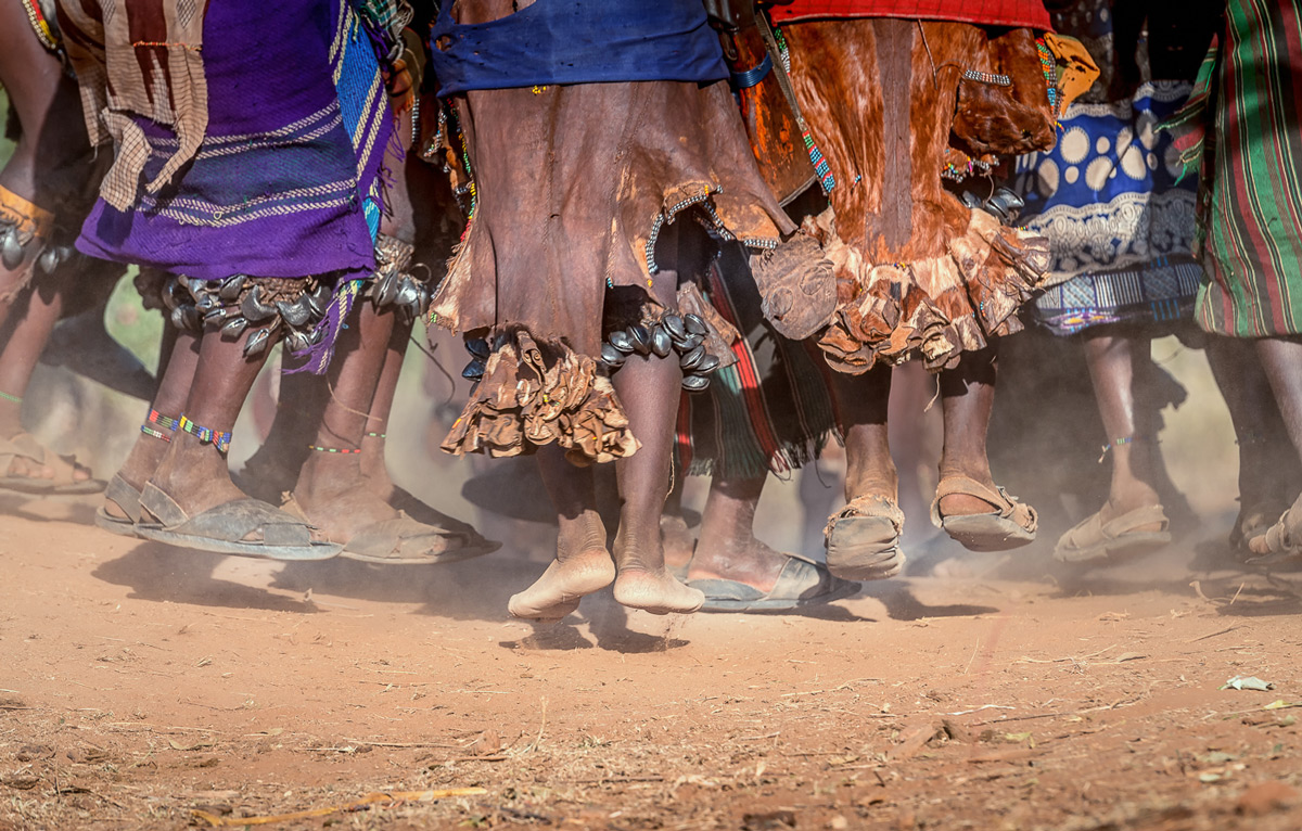 Close up of a dancing ritual for the bull jumping ceremony, Omo Valley, Ethiopia © Cohan Zarnoch