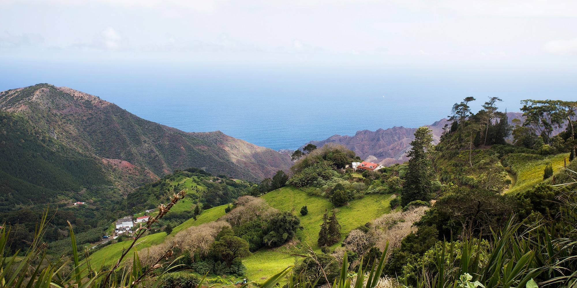 Varied landscape of St. Helena island