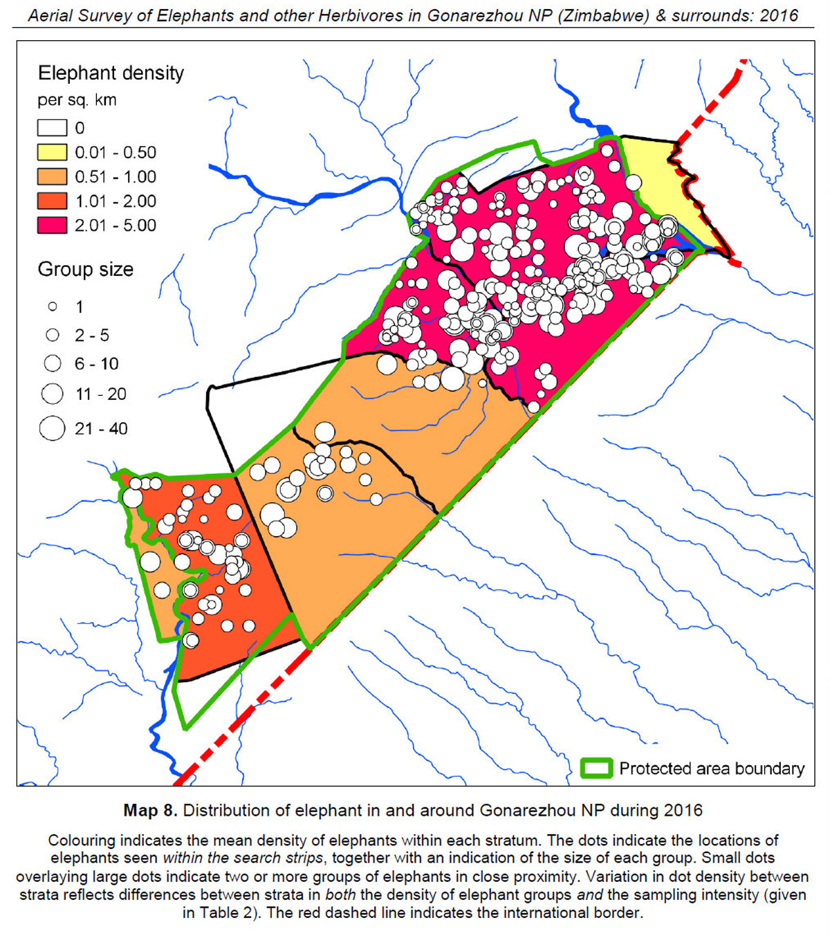 Map showing the aerial survey of elephants and other herbivores in Gonarezhou and surrounds