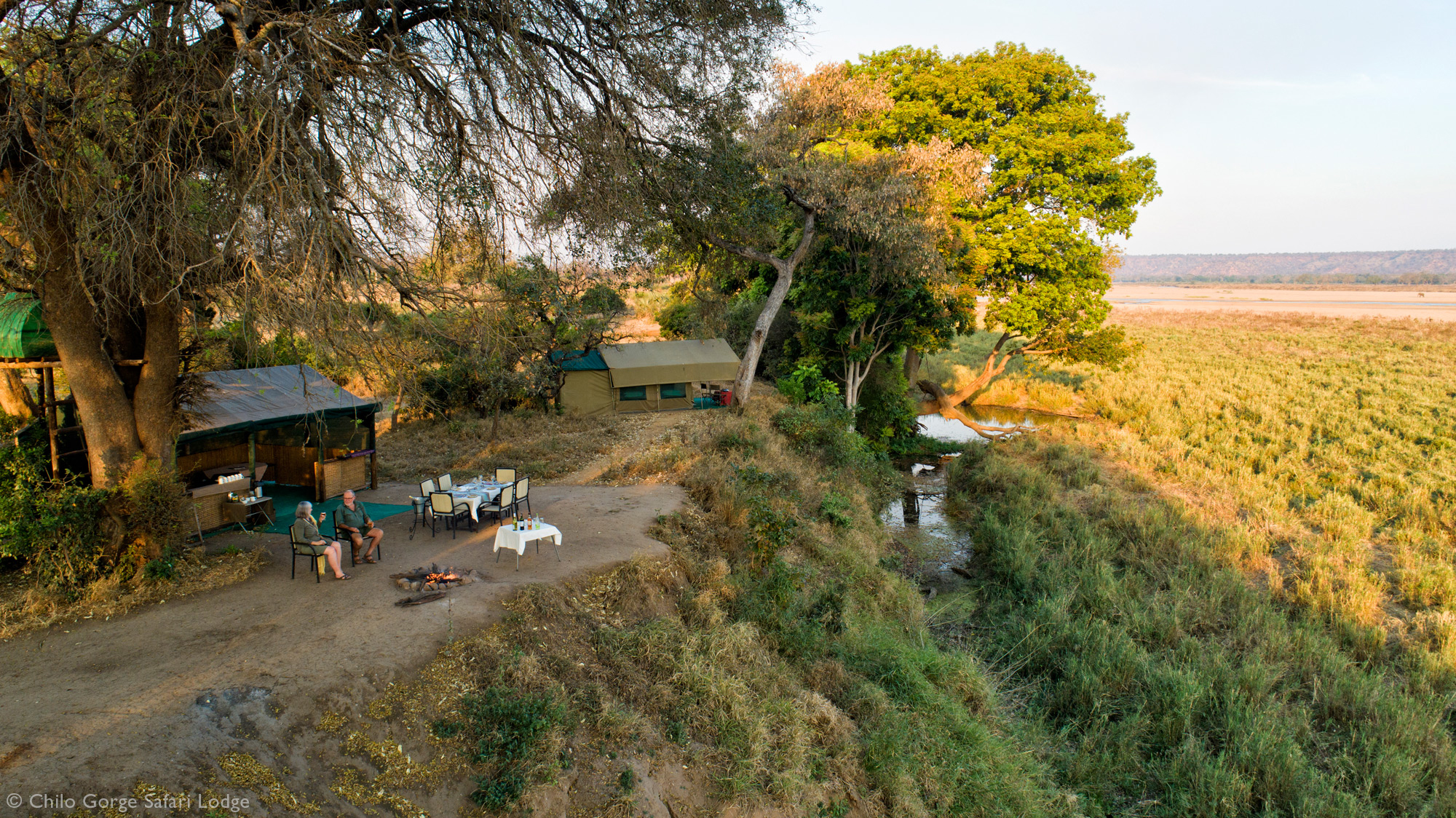 Chilo Gorge Tented Camp aerial view