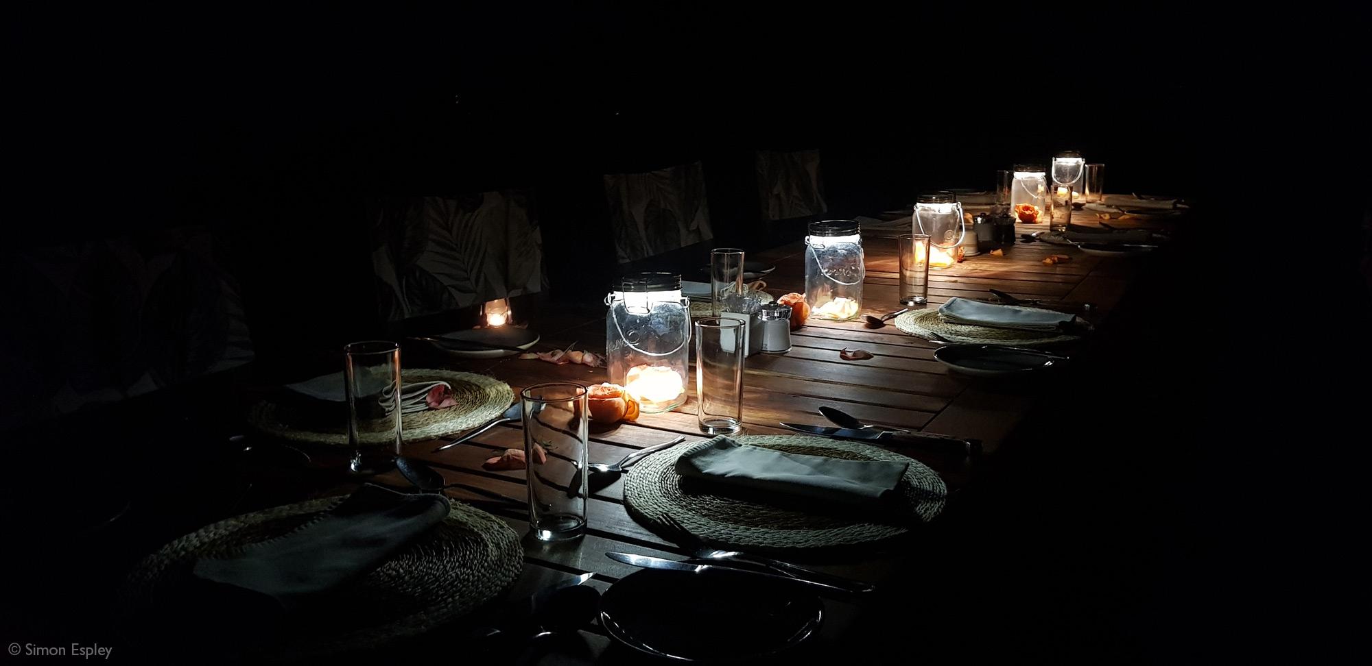 Bush dinner at night time