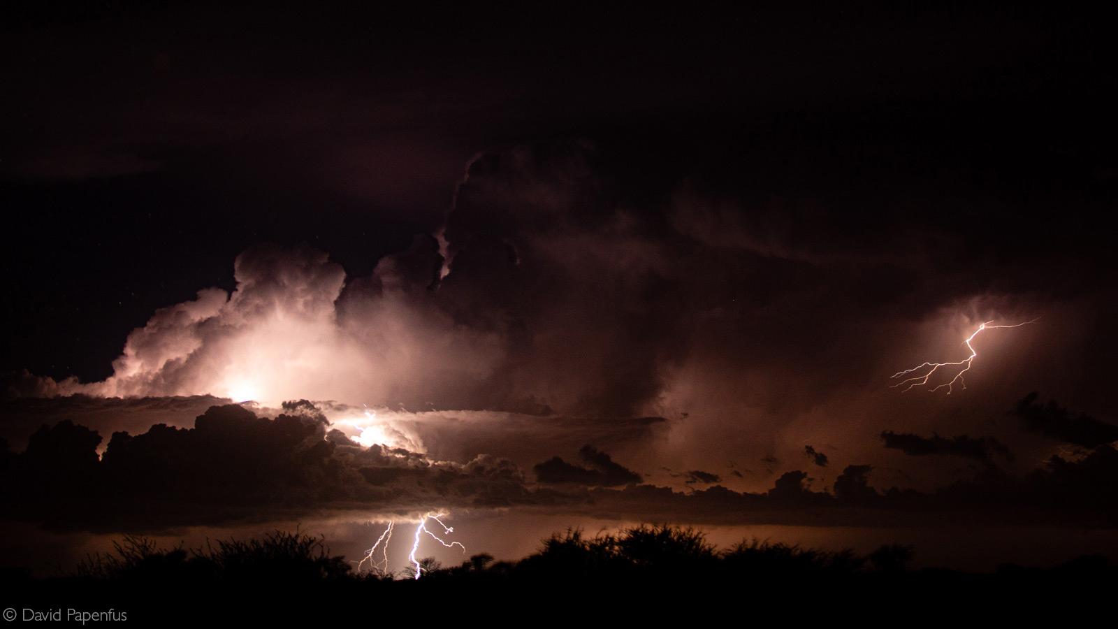 Distant thunderstorm. Kgalagadi Transfrontier Park, Botswana © David Papenfus